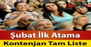 Şubat İlk Atama Kontenjanları Tam Liste
