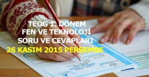 MEB, TEOG Fen ve Teknoloji Soru ve Cevapları | 26 Kasım