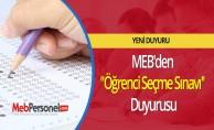 MEB'den ''Öğrenci Seçme Sınavı'' Duyurusu