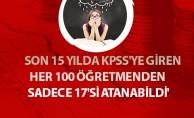 '15 YILDA KPSS'YE GİREN HER 100 ÖĞRETMENDEN SADECE 17'Sİ ATANABİLDİ'