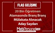 20 Bin Öğretmen Atamasında  Branş Branş Mülakata Alınacak Aday Sayıları