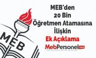 MEB'den 20 Bin Öğretmen Atamalarına İlişkin Ek Açıklama