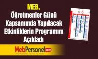 MEB, Öğretmenler Günü Kapsamında Yapılacak Etkinliklerin Programını Açıkladı
