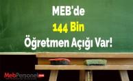 MEB'de 144 Bin Öğretmen Açığı Var!