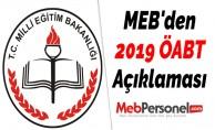 MEB'den 2019 ÖABT Açıklaması