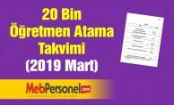 20 Bin Öğretmen Atama Takvimi (2019 Mart)