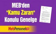 MEB'den ''Kamu Zararı'' Konulu Genelge