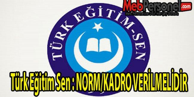 Türk Eğitim Sen : NORM/KADRO VERİLMELİDİR