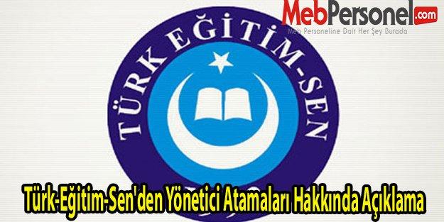 Türk-Eğitim-Sen'den Yönetici Atamaları Hakkında Açıklama