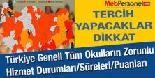 Türkiye Geneli Tüm Okulların Zorunlu Hizmet Durumları/Süreleri/Puanları
