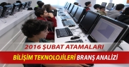 2016 Şubat Atamaları Bilişim Teknolojileri Öğretmenliği Branş Analizi