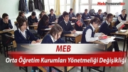 MEB, Ortaöğretim Kurumları yönetmeliğini değiştirdi