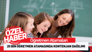 20 Bin Öğretmen Atamasında Kontenjan Dağılımı