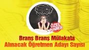 Branş Branş Mülakata Alınacak Öğretmen Adayı Sayısı