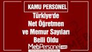 Türkiye'de Net Öğretmen ve Memur Sayıları Belli Oldu