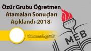 Özür Grubu Öğretmen Atamaları Sonuçları Açıklandı-2018
