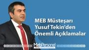MEB Müsteşarı Yusuf Tekin'den Önemli Açıklamalar