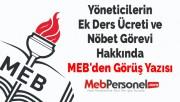 Yöneticilerin Ek Ders Ücreti ve Nöbet Görevi Hakkında MEB'den Görüş Yazısı