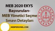 MEB 2020 EKYS Başvuruları-MEB Yönetici Seçme Sınavı Detayları