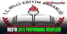 MEBin 2015 yılı performans hedefleri belli oldu