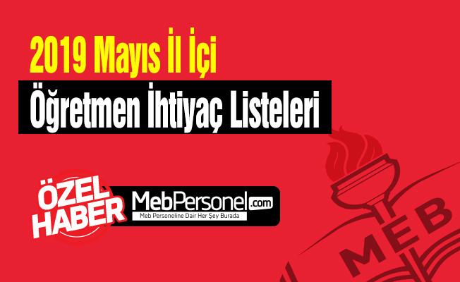 2019 Mayis Il Ici Ogretmen Ihtiyac Listeleri 80 Il